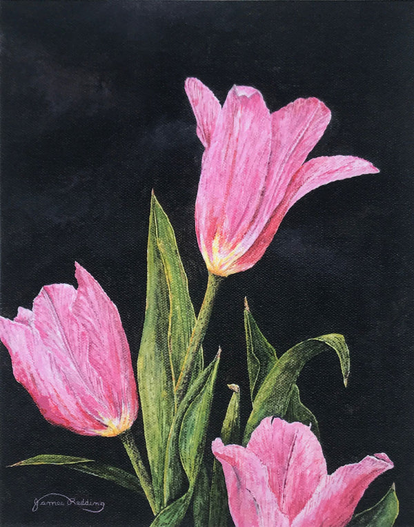 pink tulips small art painting