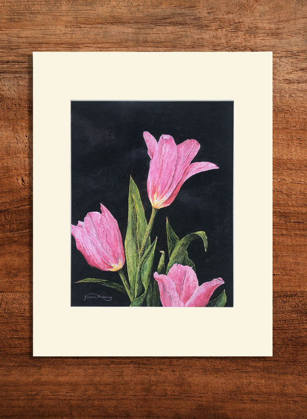 pink tulips small floral painting