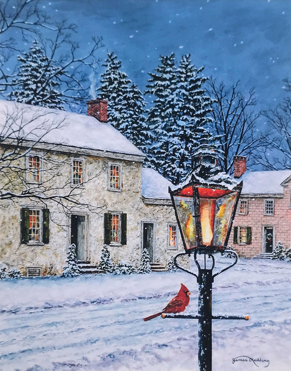 snowy streetlight small art painting