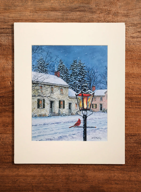 snowy streetlight small landscape painting