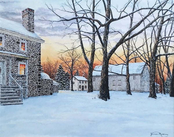 snowy sunset at washington crossing small art painting