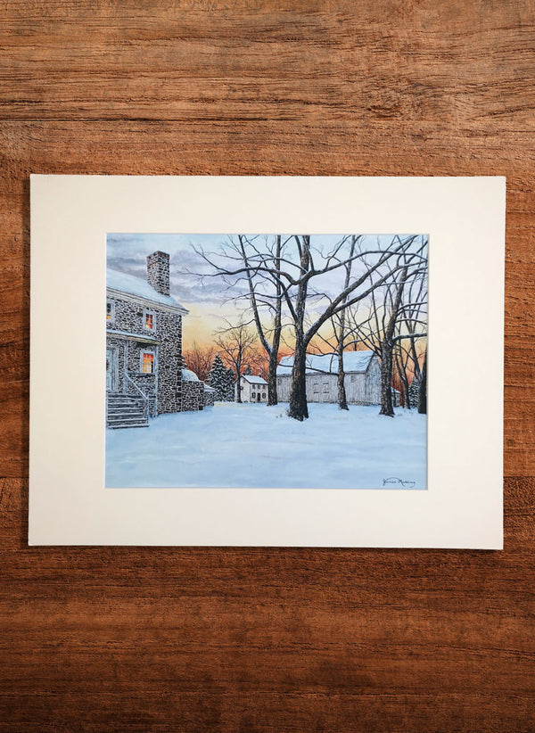 snowy sunset at washington crossing small landscape painting