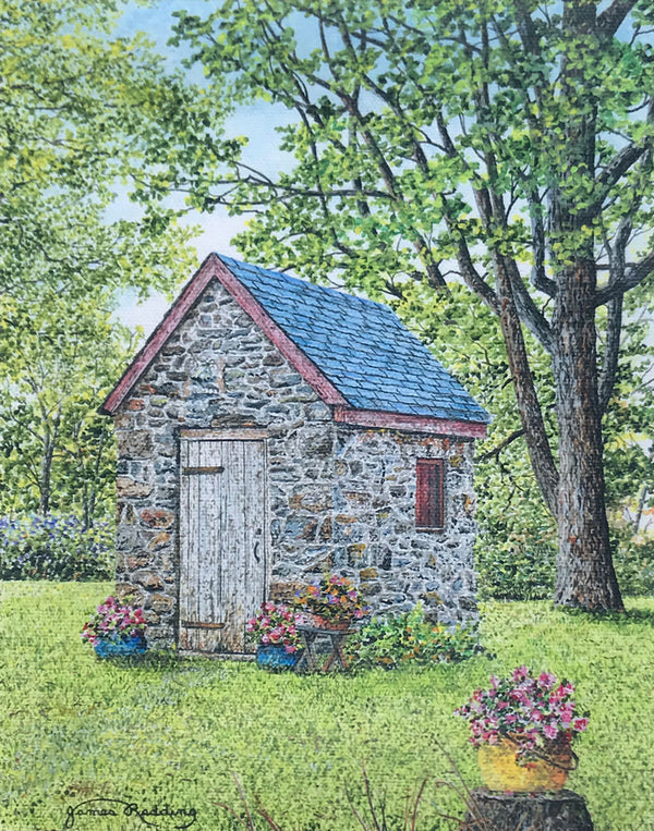 spring at the springhouse small art painting