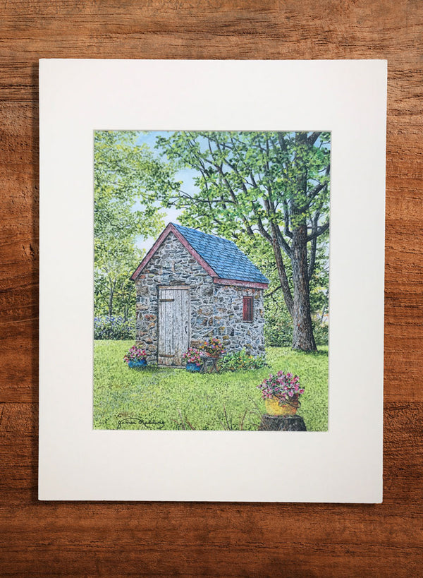 spring at the springhouse small landscape painting