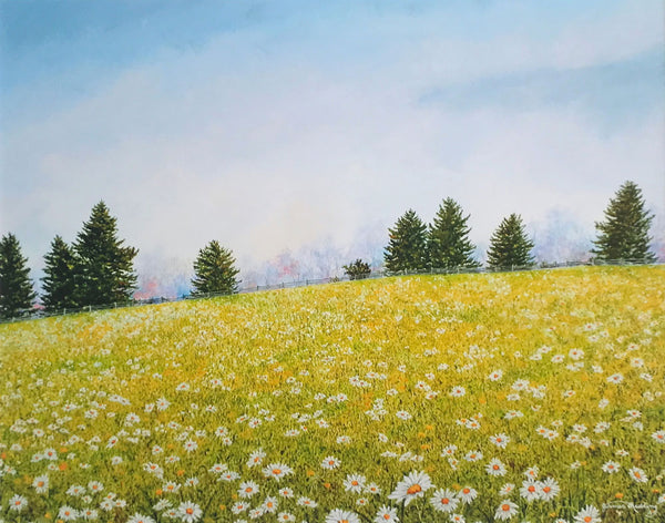 summer meadow small art painting