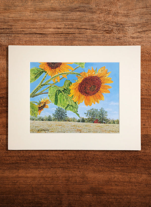 sunflower farm small landscape painting