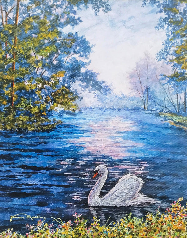 swan on lake small art painting