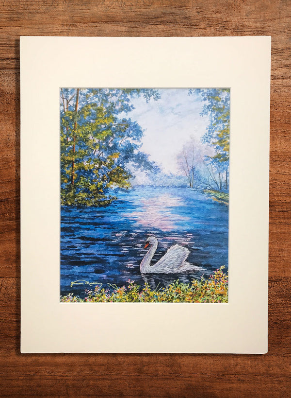swan on lake small landscape painting