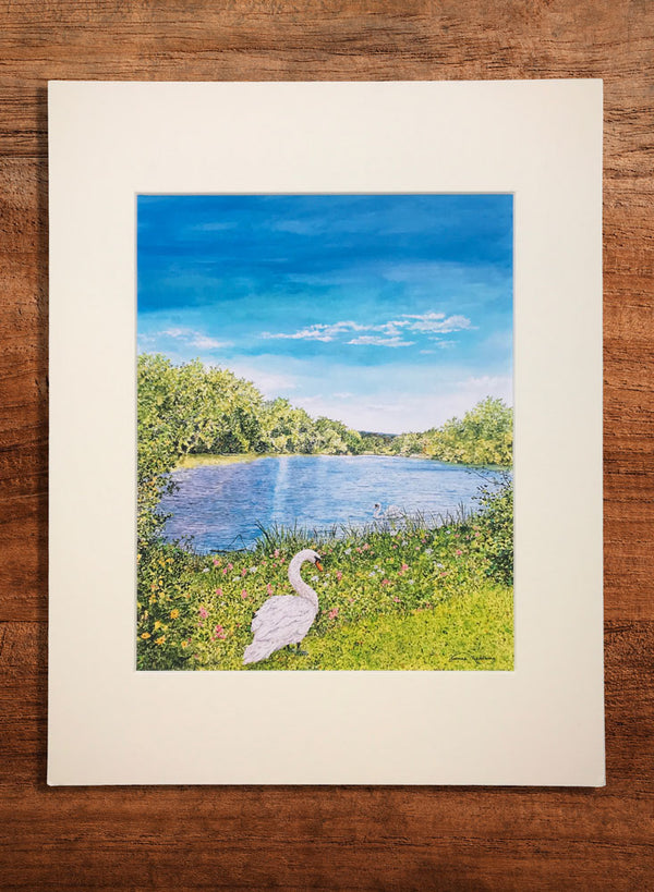 swans small landscape painting