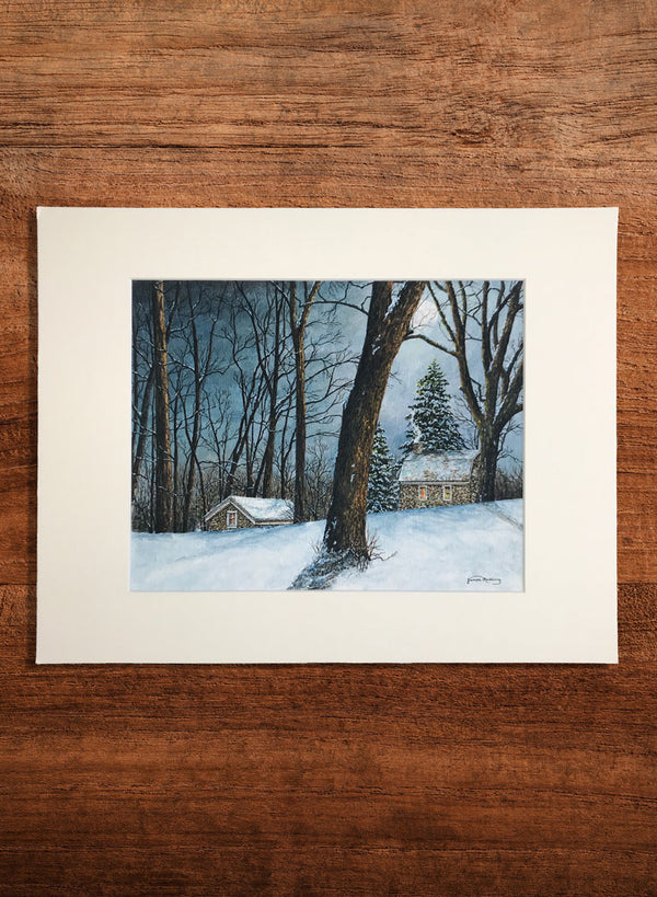 winter moon small landscape painting