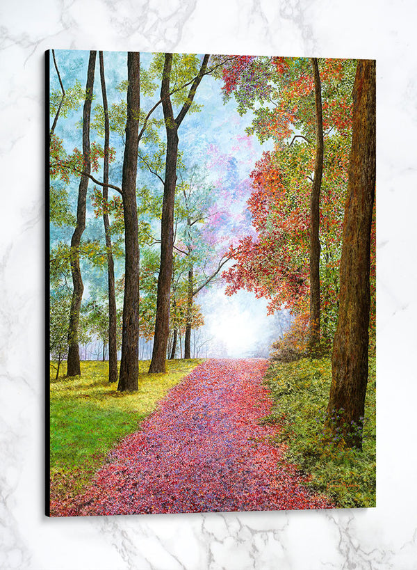 autumn's red carpet canvas fall landscape painting