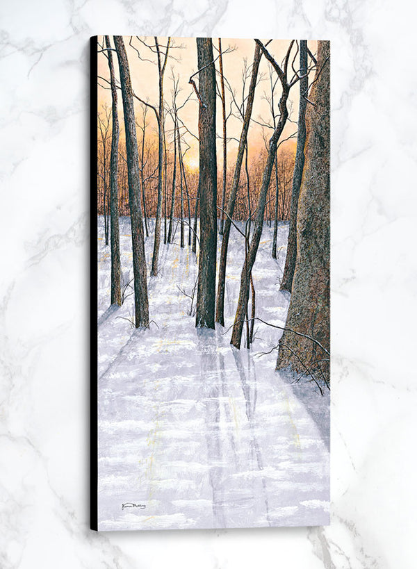 bare trees at sunset canvas winter landscape painting