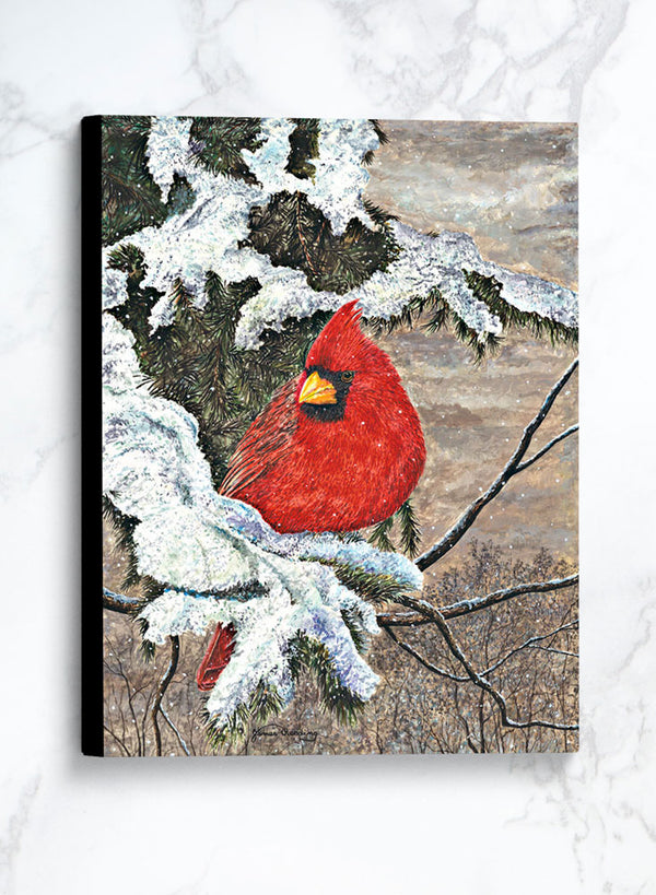 cardinal in winter canvas winter bird painting