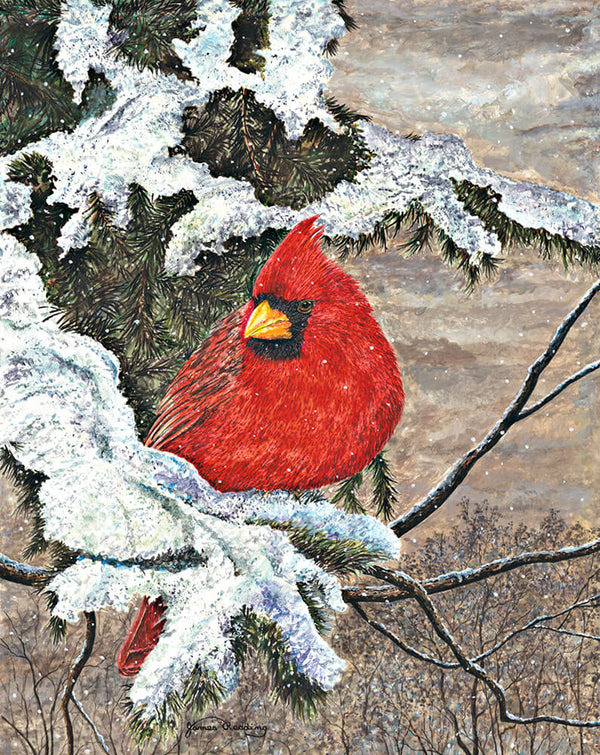 cardinal in winter fine art painting