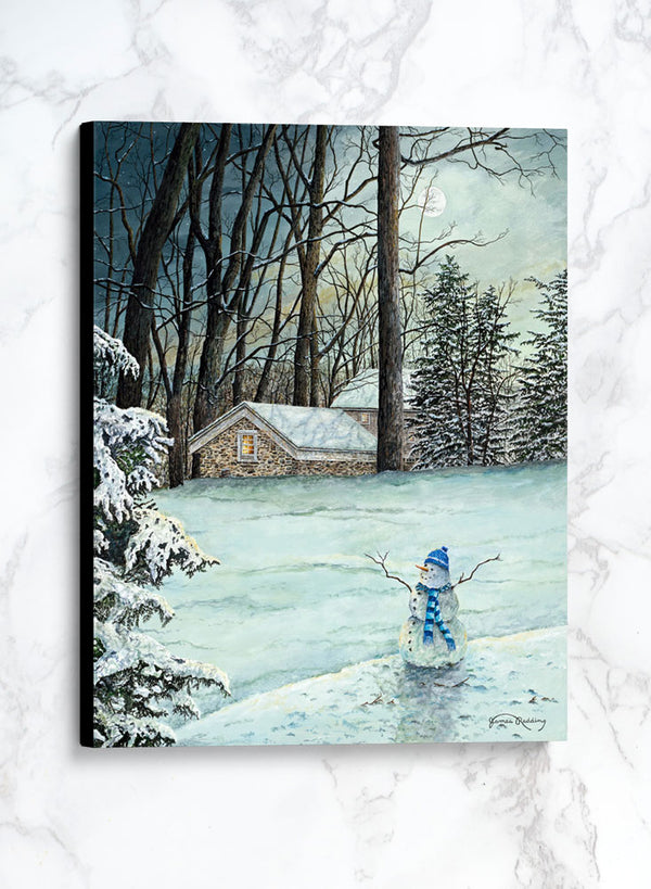emerald moon canvas winter landscape painting