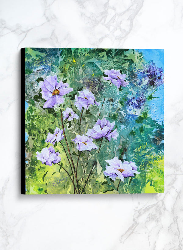 lavender and lime canvas floral painting