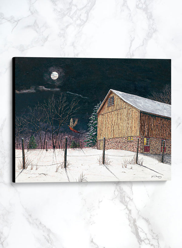 moonlight visitor canvas winter landscape painting