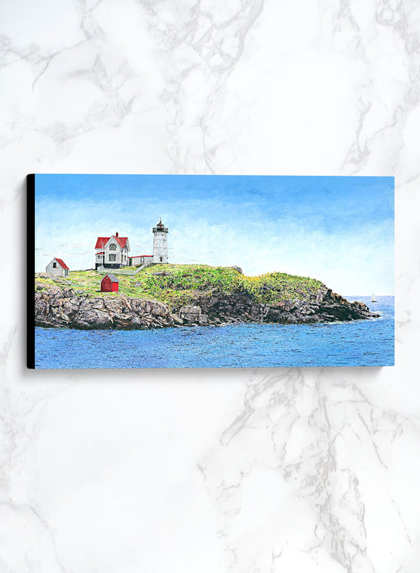 nubble light canvas lighthouse landscape painting