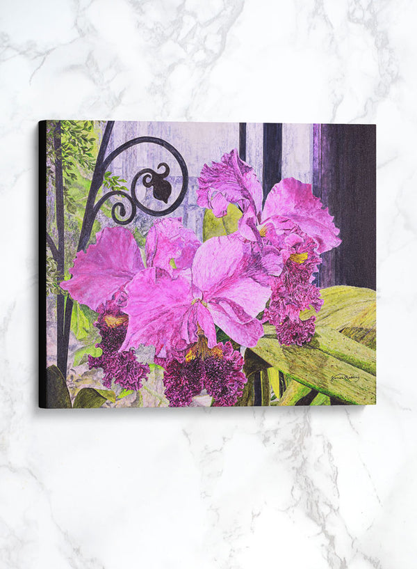 orchid house canvas floral painting