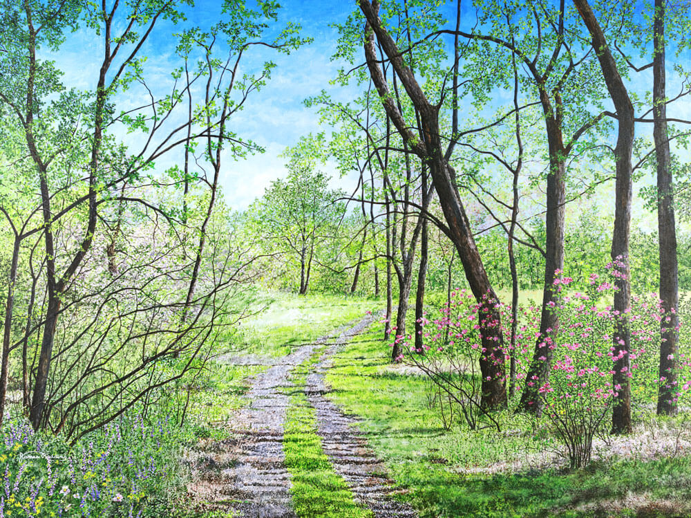 path through the woods fine art painting