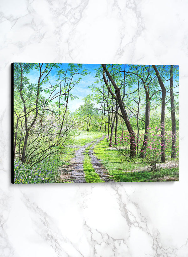 path through the woods canvas spring landscape painting