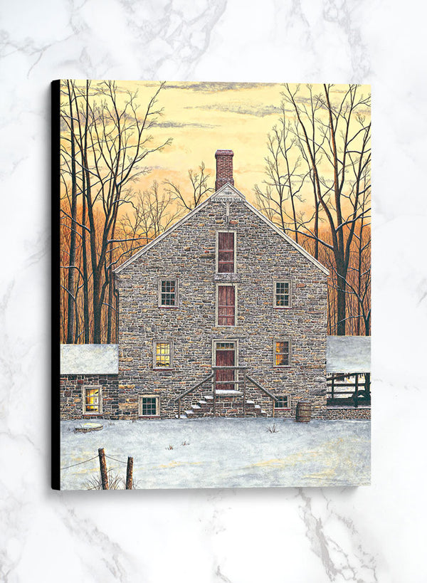 stover's mill canvas winter landscape painting