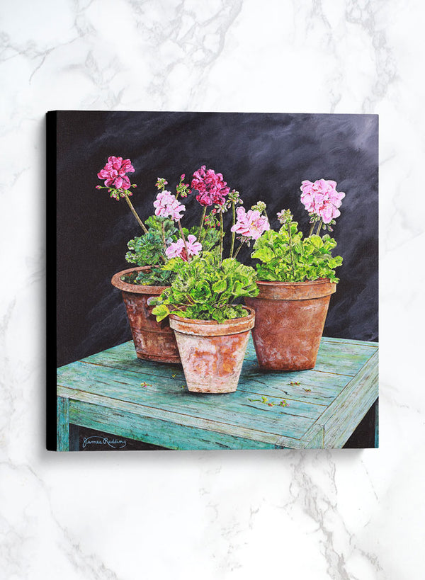 terra cotta pots canvas floral still life painting