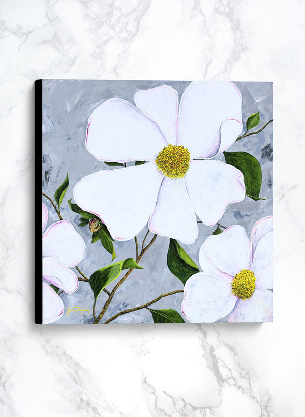 white floral 1 canvas floral painting