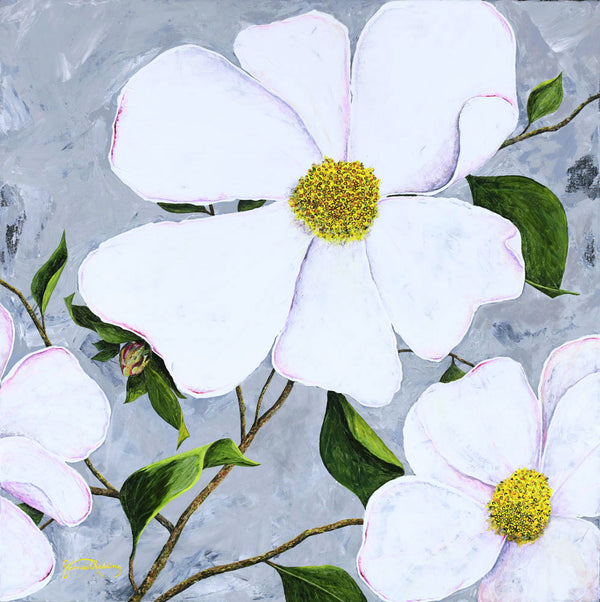 white floral 1 fine art painting