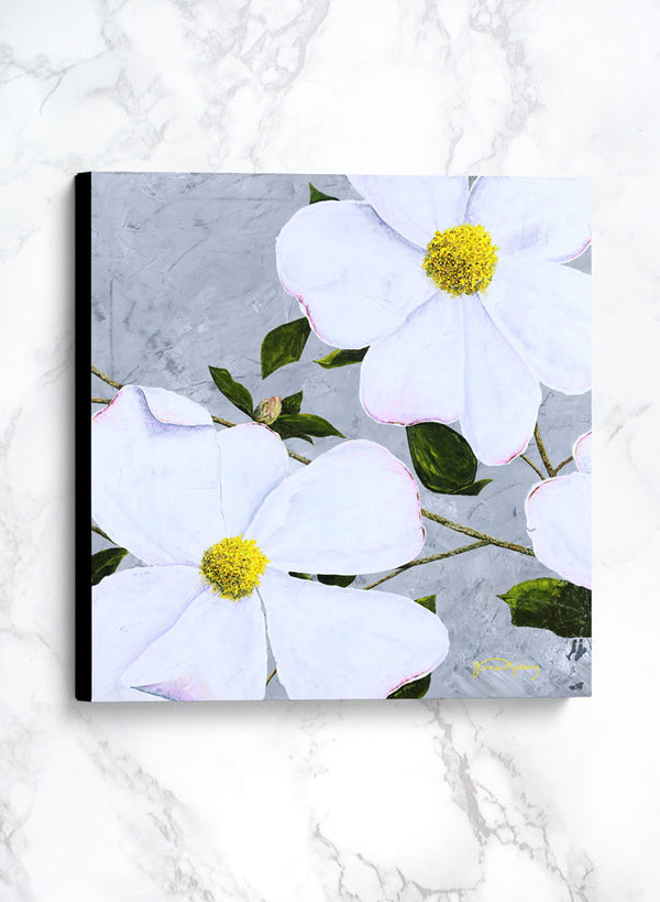 white floral 2 canvas floral painting