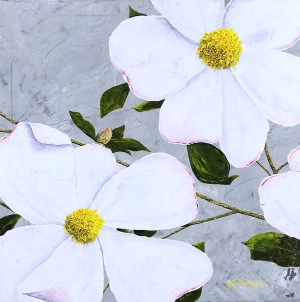 white floral 2 fine art painting