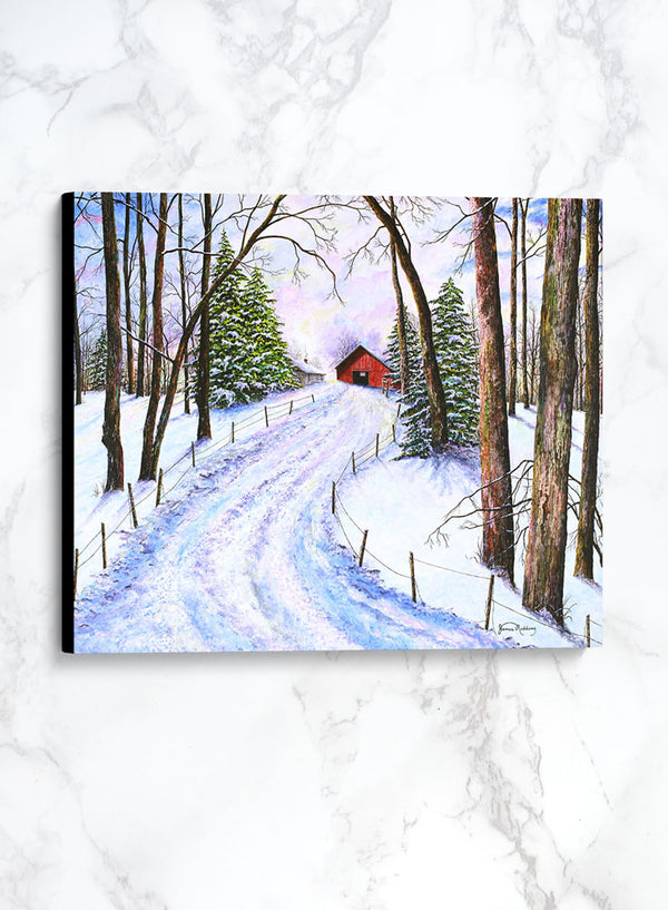 winter's glow canvas winter landscape painting