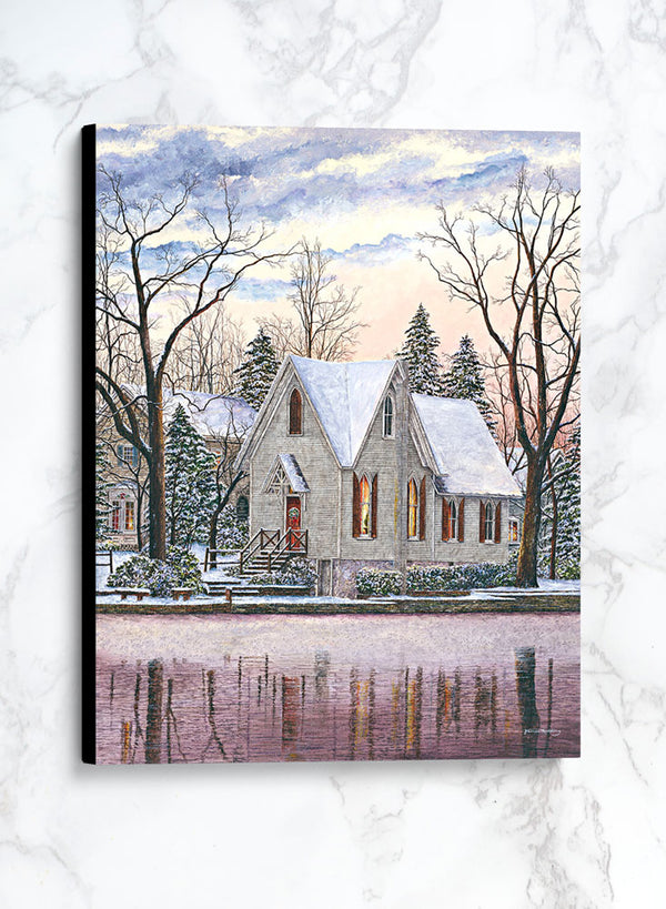 wintry sky at lake afton canvas winter landscape painting