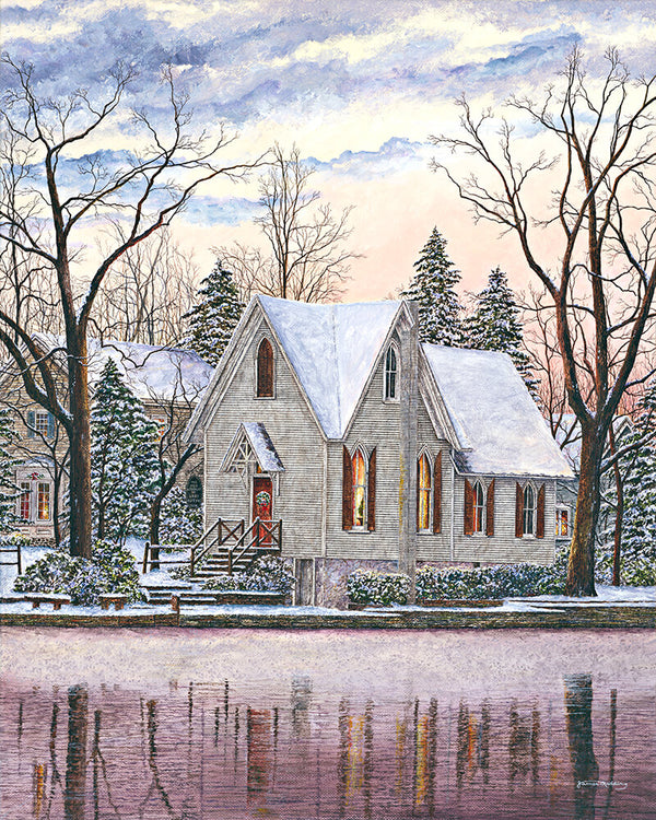 wintry sky at lake afton fine art painting