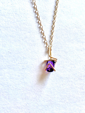 Aimee Petkus Mini Geo Gem Necklace Amethyst