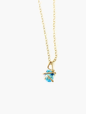 Aimee Petkus Mini Geo Gem Necklace Swiss Blue Topaz