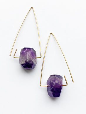 Aimee Petkus Open Triangular Stone Hoops 14K GF Amethyst Earrings