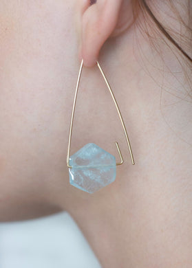Aimee Petkus Open Triangular Stone Hoops 14K GF Aquamarine Earrings