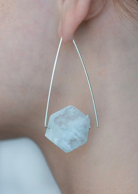 Aimee Petkus Open Triangular Stone Hoops SS Aquamarine Earrings