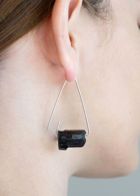 Aimee Petkus Open Triangular Stone Hoops SS Black Tourmaline Earrings