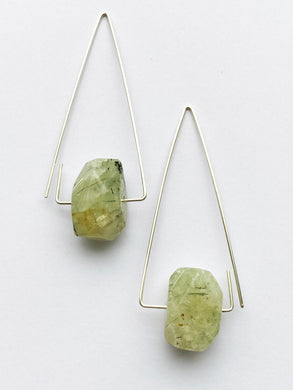 Aimee Petkus Open Triangular Stone Hoops SS Prehnite Earrings