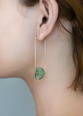 Aimee Petkus Open Rectangular Stone Hoops 14K GF Prehnite Earrings