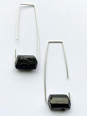 Aimee Petkus Open Rectangular Stone Hoops SS Black Tourmaline Earrings