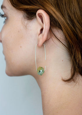 Aimee Petkus Open Rectangular Stone Hoops SS Prehnite Earrings