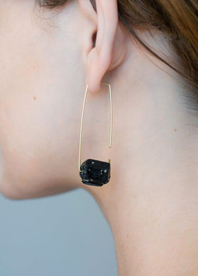 Aimee Petkus Open Rectangular Stone Hoops 14K GF Black Tourmaline Earrings