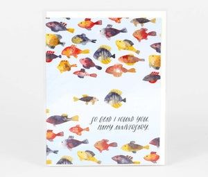 Loose Leaves Anniversary Card (Fish)