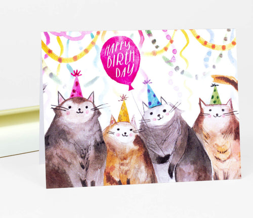 Loose Leaves Happy Birthday (Cats) Card
