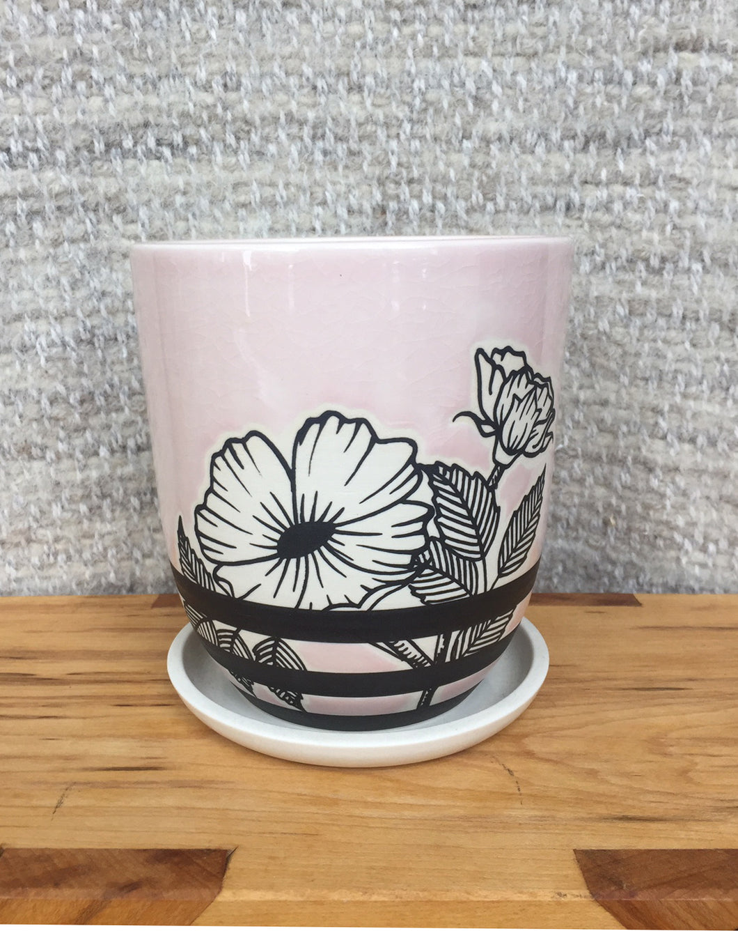Rider Ceramics Pink Striped Floral Planter