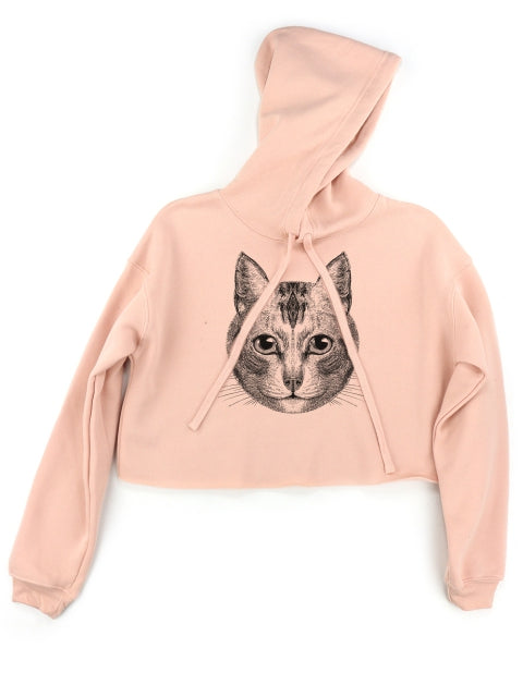 Supermaggie  Cat Face Mandy Crop Hoodie Apricot