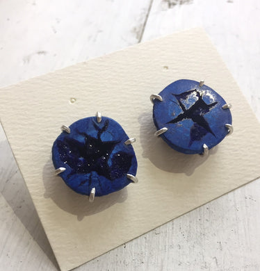 Aimee Petkus Azurite Geode Mineral Specimen Earrings